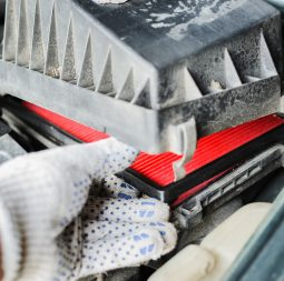 Car service. The mechanic replaces air filter. Closeup photo