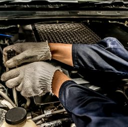 People are repair a car Use a wrench and a screwdriver to work.Safe and confident in driving. Regular inspection of used cars. It is very well done.